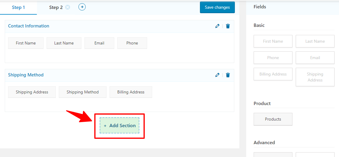 Add a new section on your checkout page using WooFunnels field editor