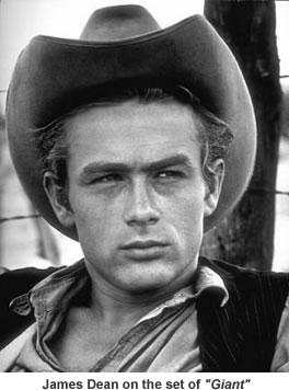 James Dean on the set of Giant.