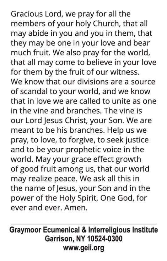 2021 Week of Prayer for Christian Unity Prayer Card