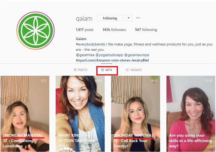 Social media post ideas – Gaiam takes advantage of IGTV: