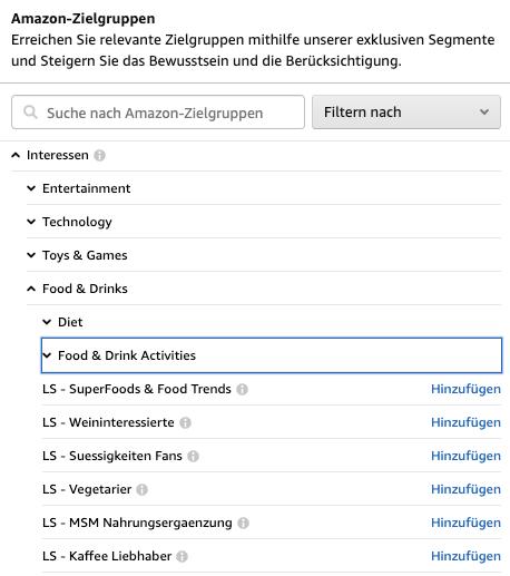 Amazon-Zielgruppen: Interessen