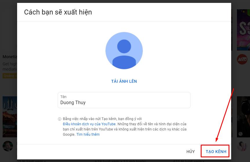 Hướng dẫn tạo kênh Youtube trên máy tính (3)