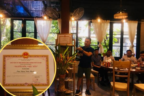Anh Mạnh được UBND Thành phố Hà Nội trao tặng bằng khen Người tốt, việc tốt