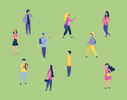 Set of People Walking Outside in Grass - Download Free Vectors ...