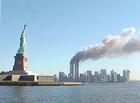 9-11 Statue of Liberty and WTC fire