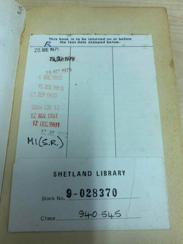 A copy of To Sea in a Sieve by Peter Bull was returned to Scotland's Shetland Library 38 years late. The book was turned in last year at a library in Suffolk, England. Photo courtesy of the Shetland Library