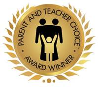 Parent and Teacher Choice Award Winner logo: gold medallion with stylized adults behind celebrating child figure