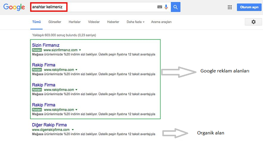 google arama ağı reklam kampanyası google reklam alanları organik alan