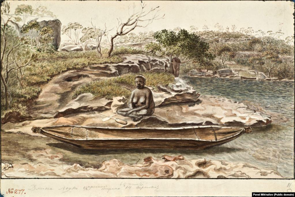 Местная жительница около каноэ. Зарисовка, вероятно, сделана в Австралии.