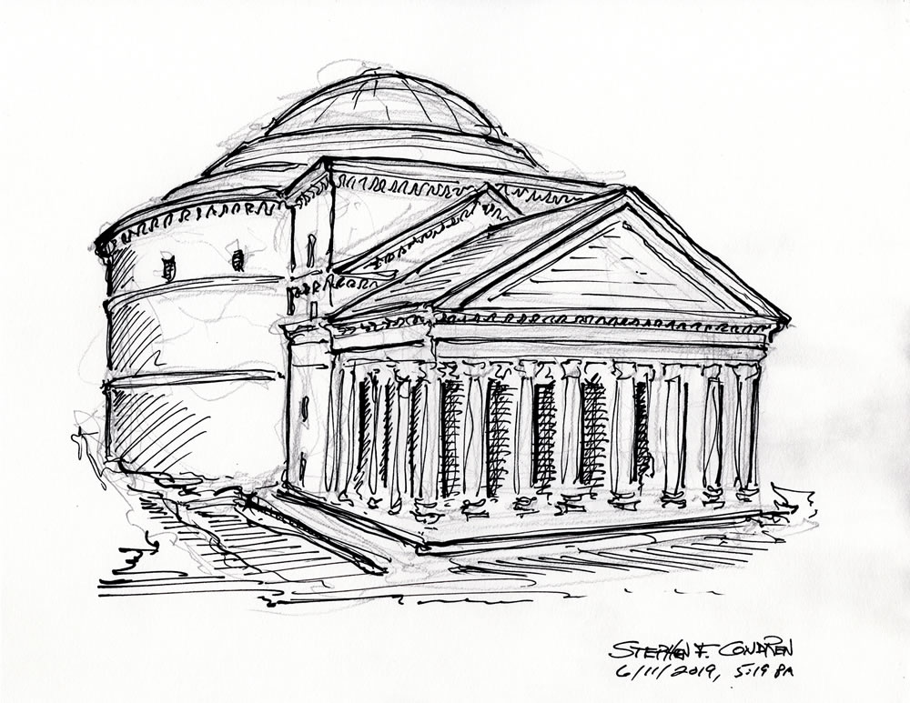 Pen & ink drawing of the Pantheon in Rome by Condren.