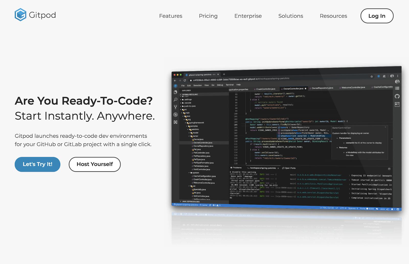 Site do Gitpod