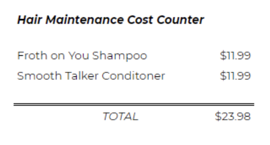 hair maintenance costs counter