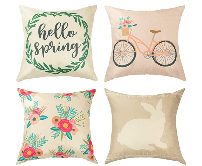 spring decorations set of 4 throw pillows