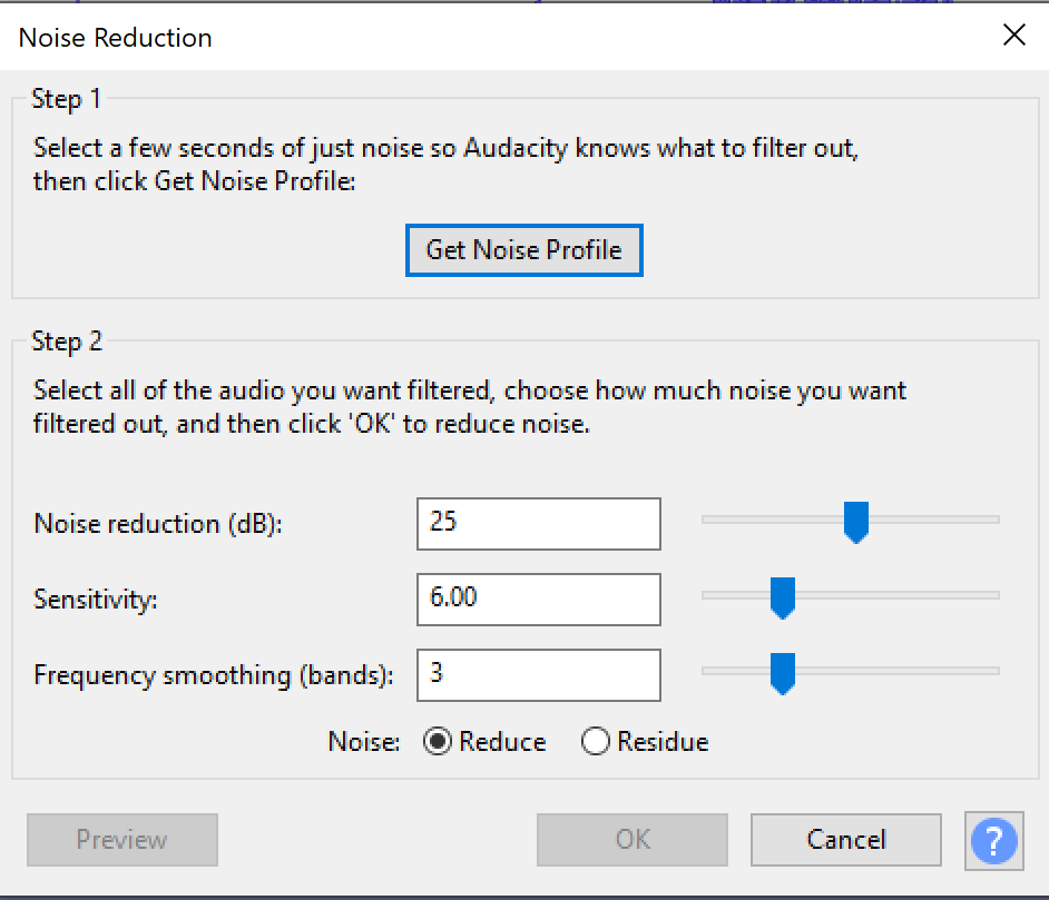 Noise reduction menu in Audacity
