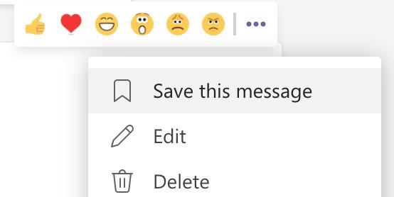 Save a message on Microsoft Teams
