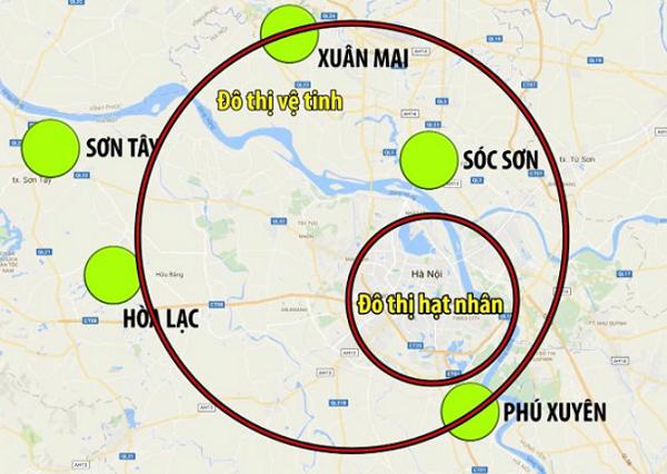Bản đồ quy hoạch 5 vệ tinh