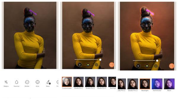 foto de uma mulher negra com o rosto pintado sendo editada pelo AirBrush