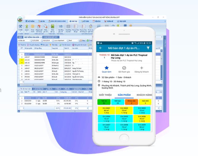 Hình ảnh một vài phần mềm quản lý kinh doanh bất động sản