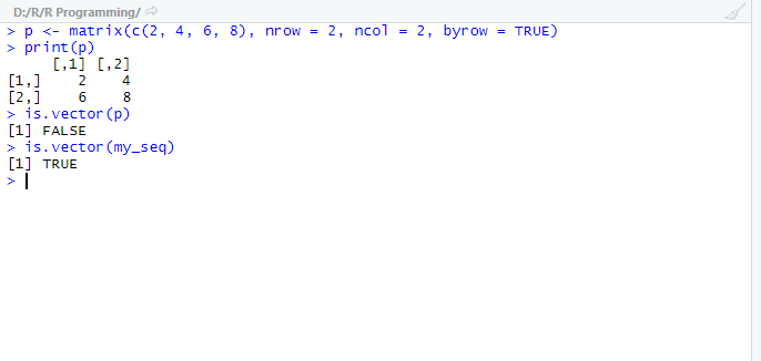 This image shows the example code and output for the is.vector() function in R.