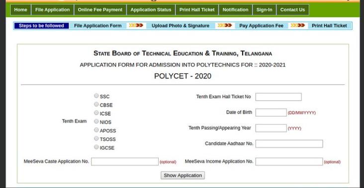 TS POLYCET Application Form