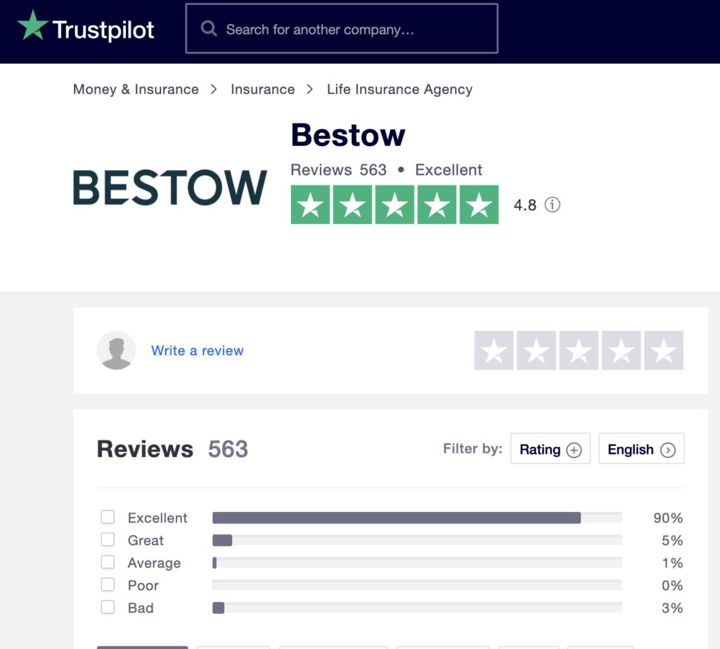 bestow trust pilot review