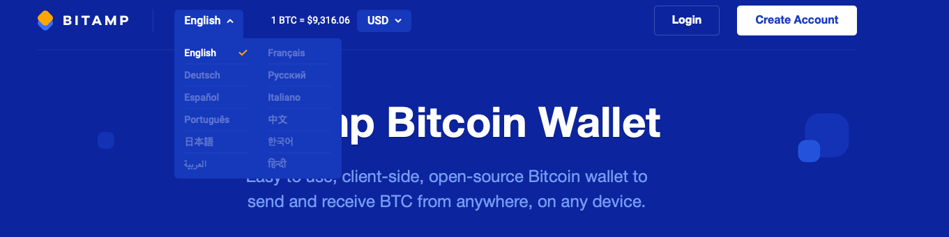 bitamp wallet supported languages