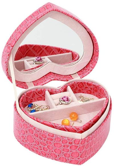 HEART-SHAPED BOX WITH EARRINGS AND BRACELET