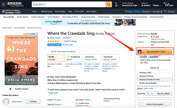 """Step 7: Finally, select """"Buy now with 1-Click"""" button, and just like that you have bought a book for your Kindle read, and the book will automatically show in your Kindle."""