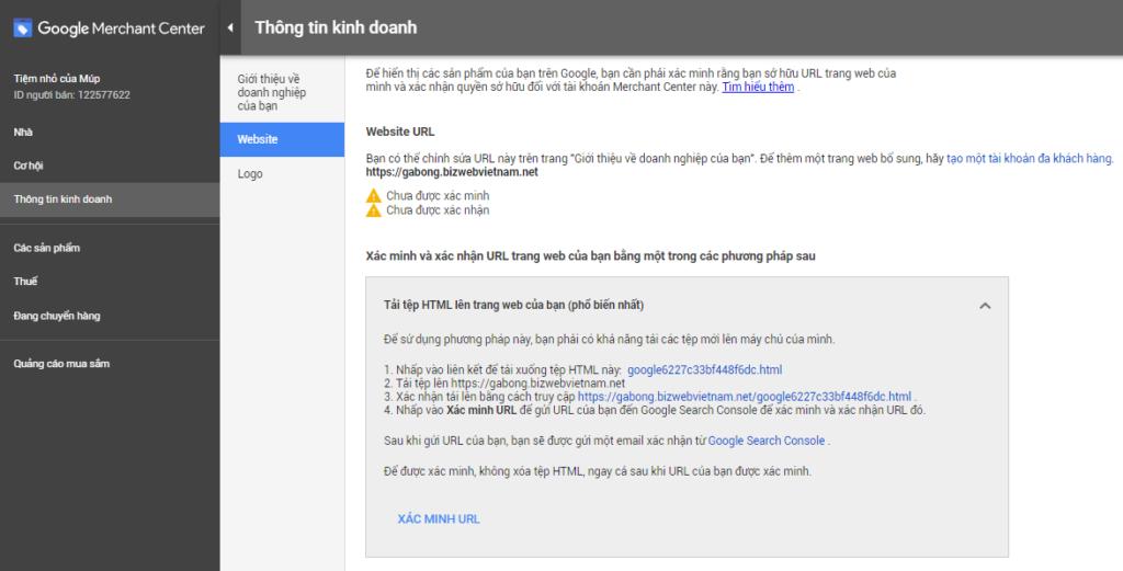 Xác thực website theo 1 trong 4 cách Google gợi ý