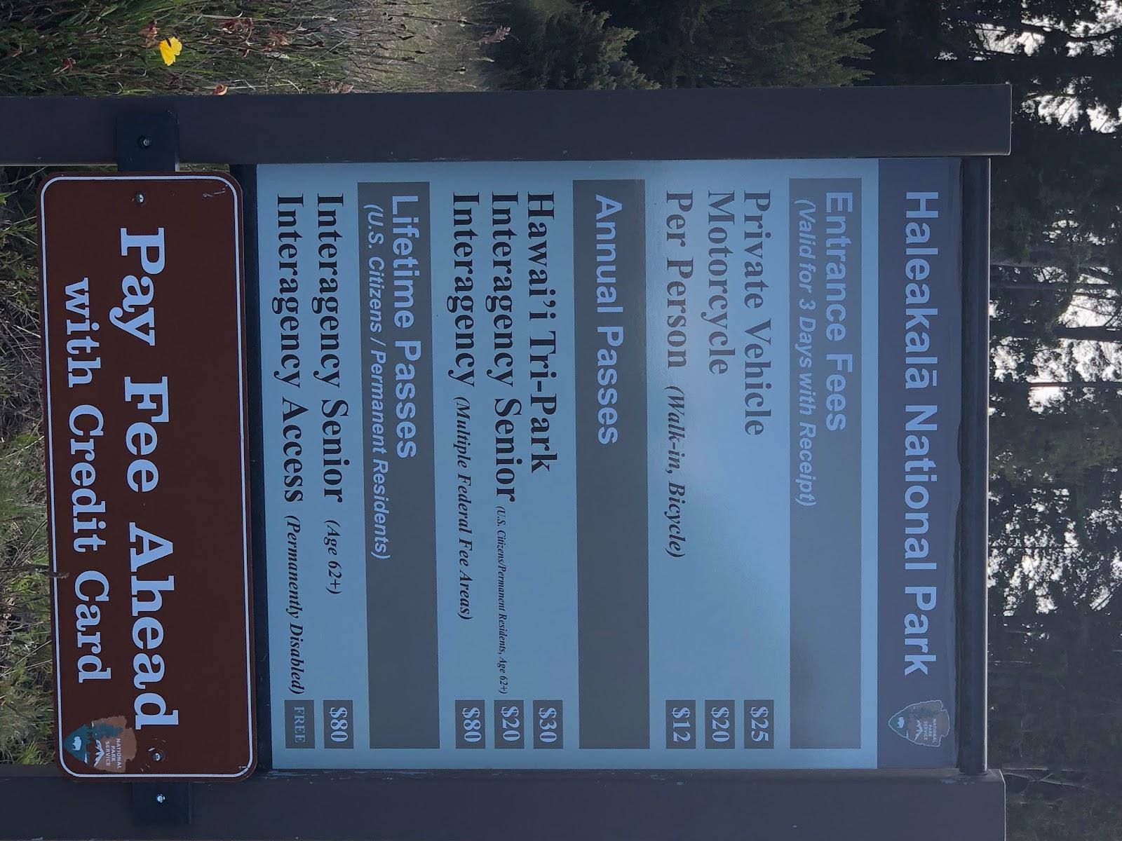 Best bike climb in Hawaii - Haleakala Volcano  - park fee entrance sign