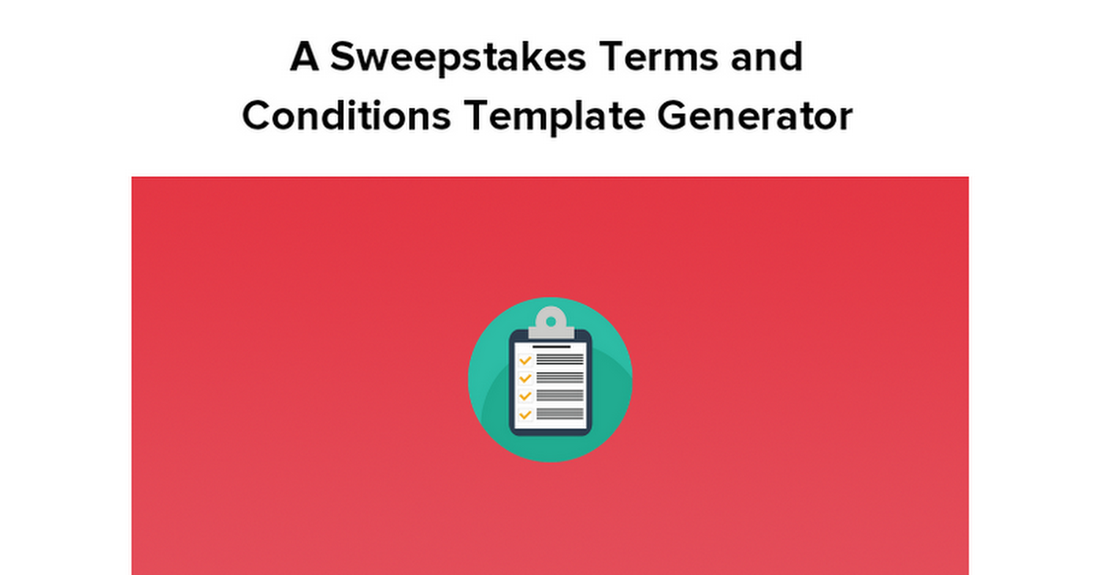 Sweepstakes Terms And Conditions Template Generator Google Docs - Terms and conditions template generator