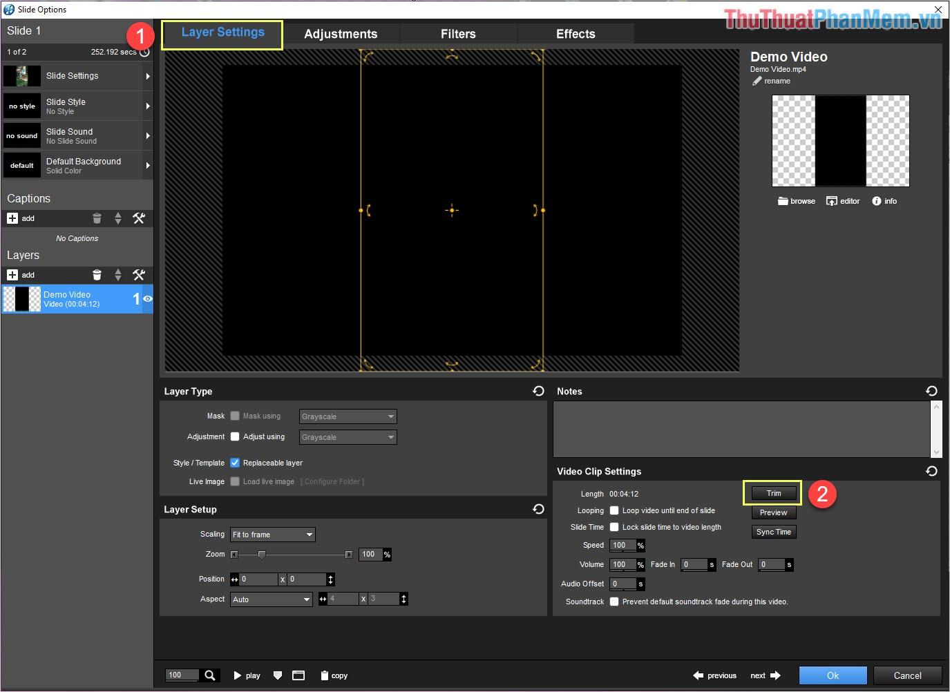 Click đúp chuột vào file video để chỉnh sửa