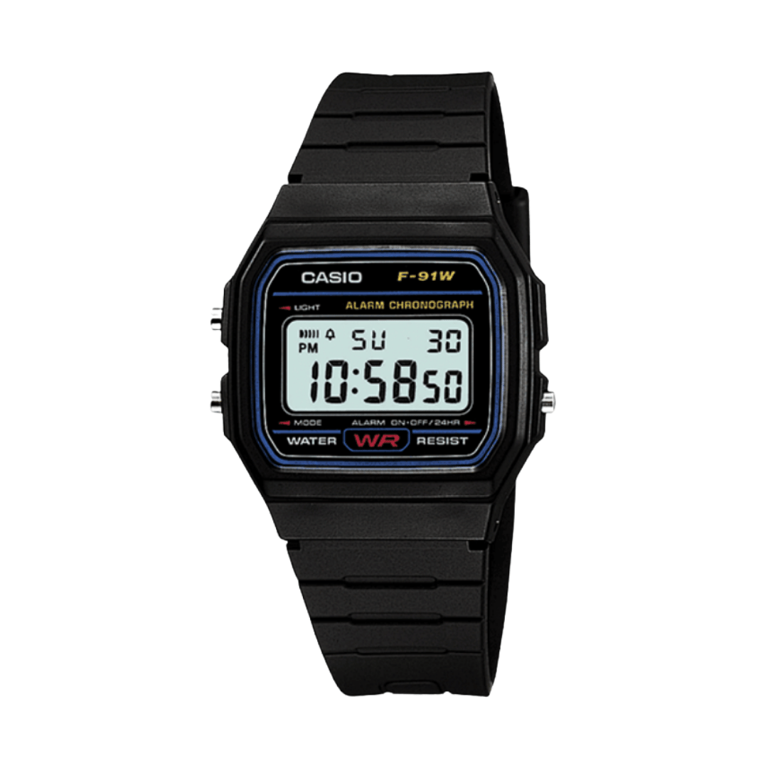 Digital watch from casio with clack plastic strap and case.