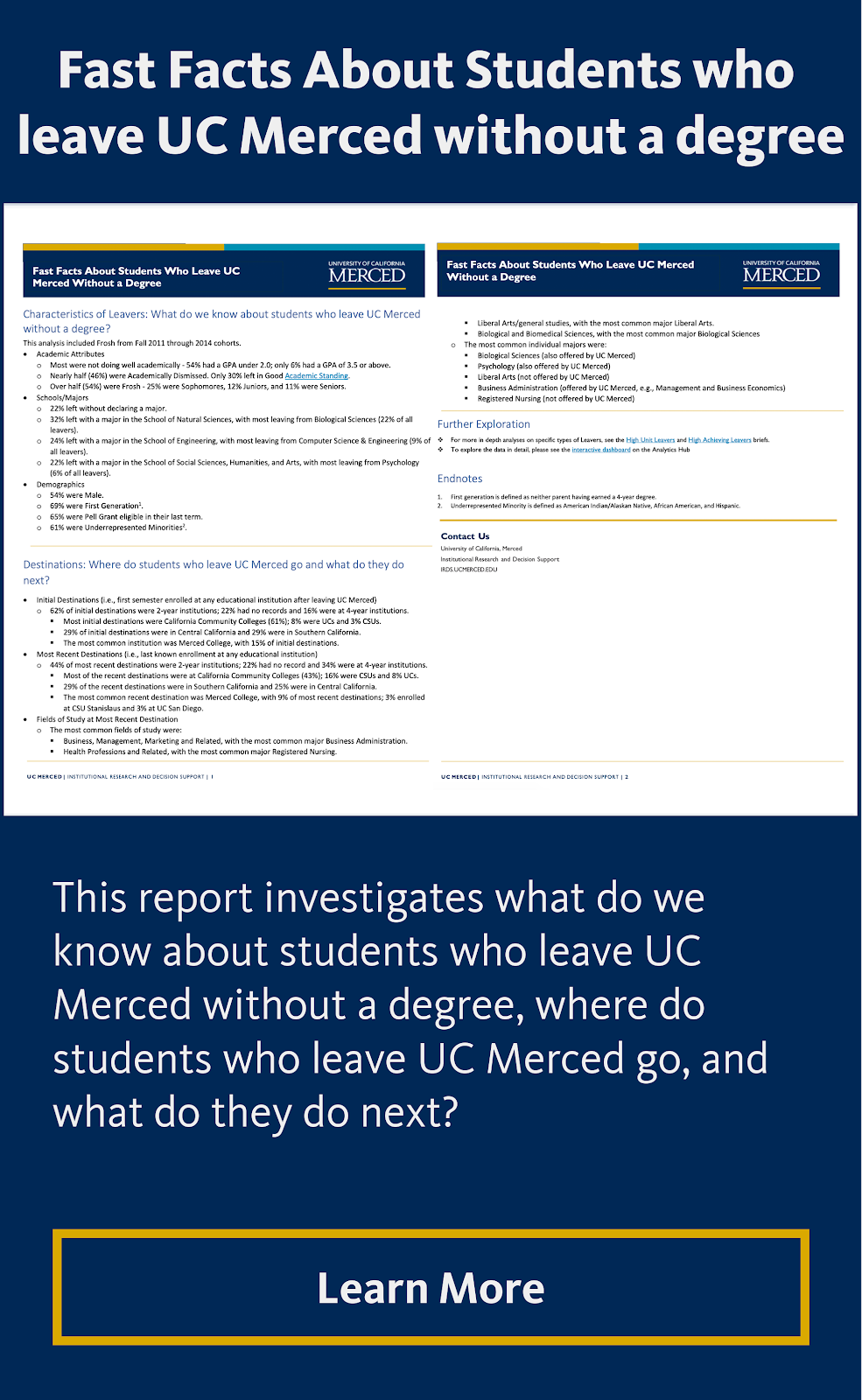 Fast Facts About Students who leave UC Merced without a degree