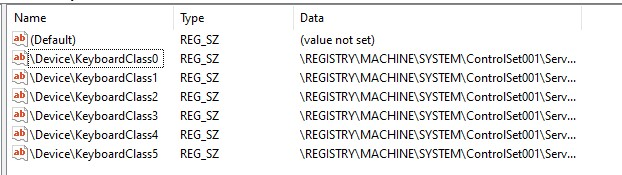 Search Result for kbdclass in Registry Editor