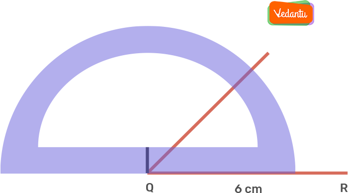 Taking Q as the centre, draw an angle of 50° using the protractor