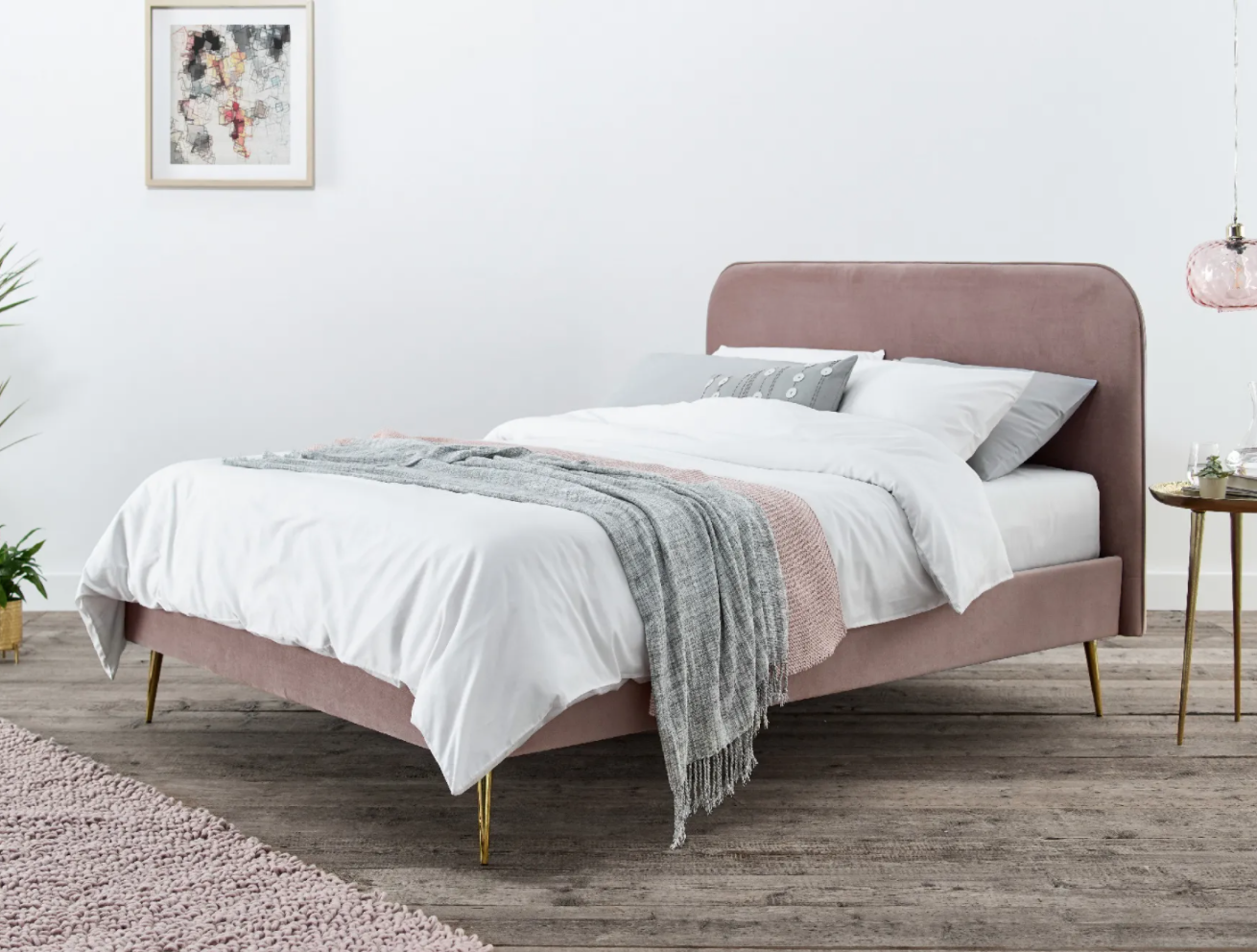 fiona bed frame in pink
