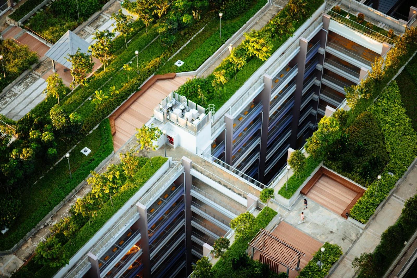 tepelny ostrov, byvanie v meste, zahrada na streche, posedenie na streche