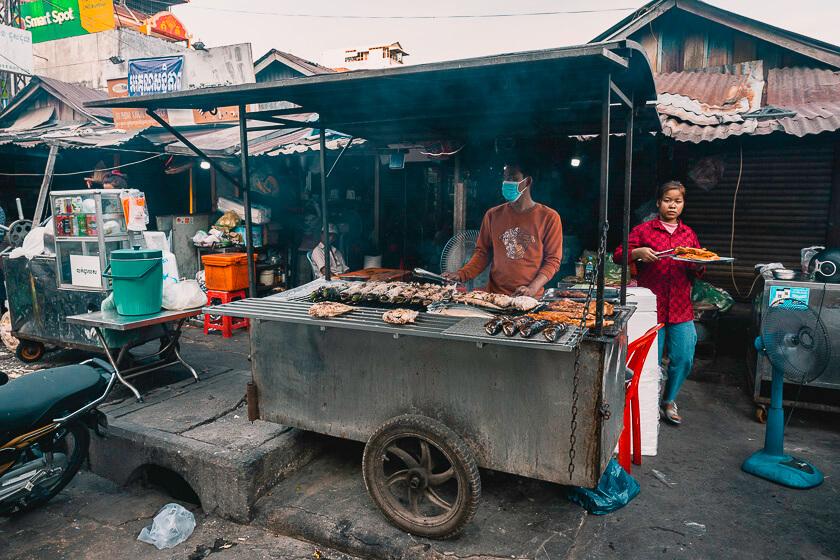 Food vendor at a market.