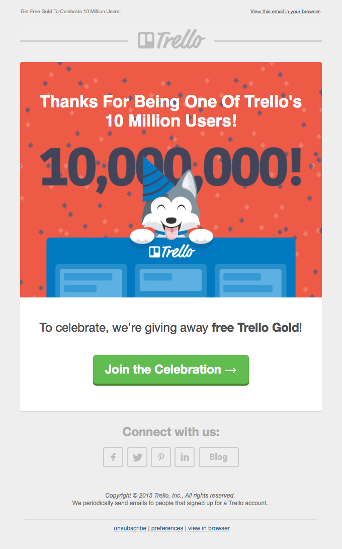 Trello milestone thank you email sample