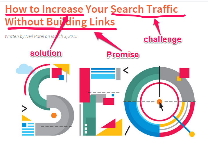 """A headline that reads """"How to increase your search traffic without building links""""."""