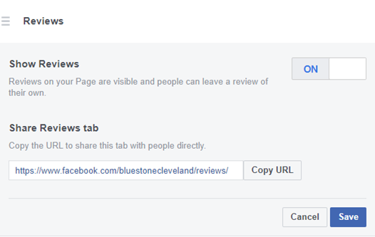 Facebook reviews share review page URL