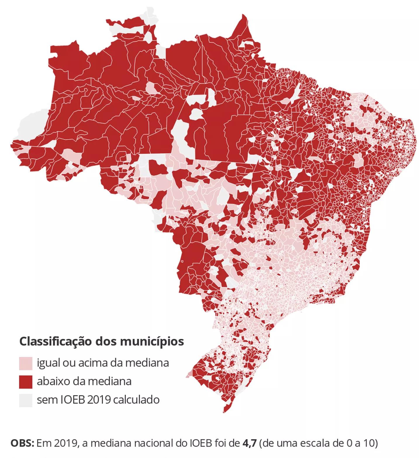 Mapa: IOEB por regiões