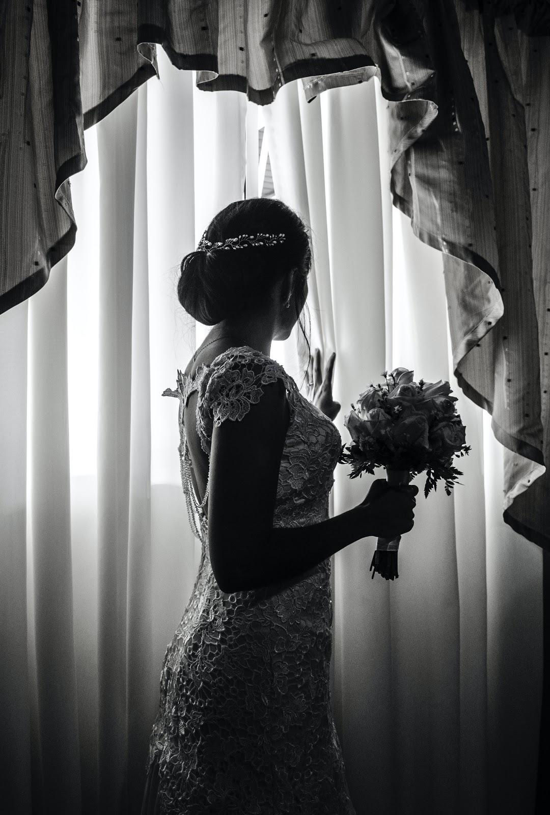 black and white photo of a bride
