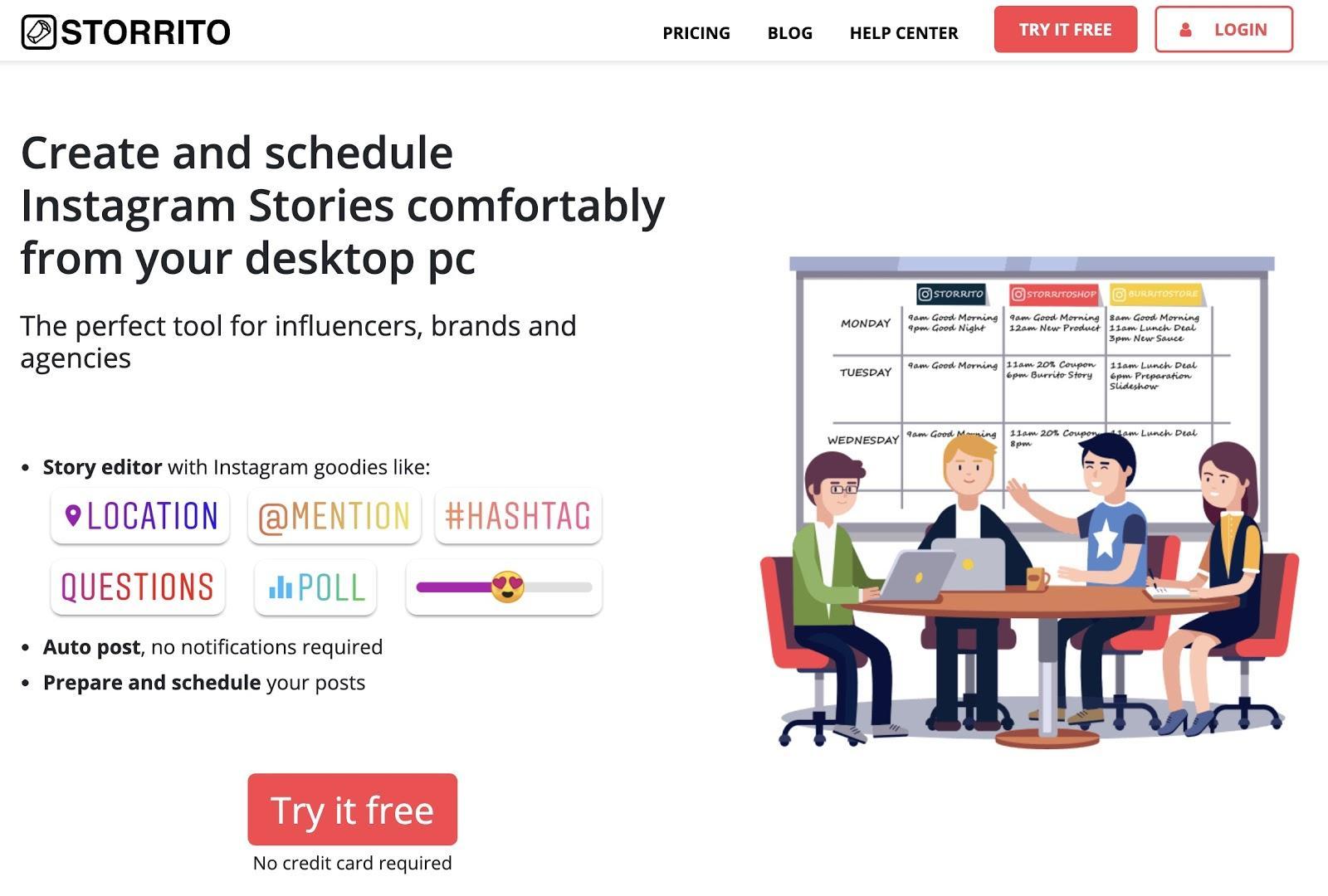 landing page of storrito.com