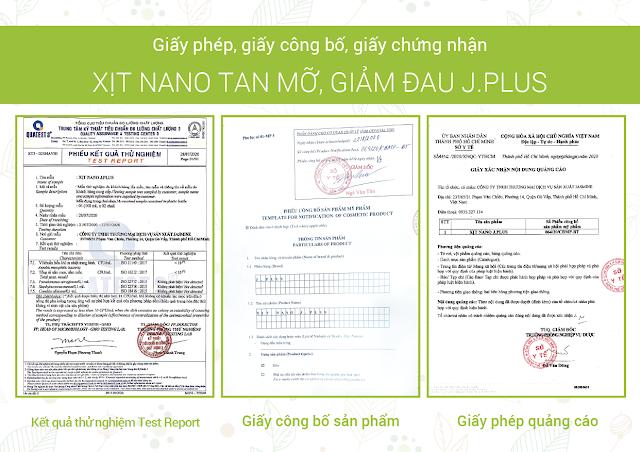Đơn vị sản xuất và phân phối xịt Nano tan mỡ J.Plus chính hãng
