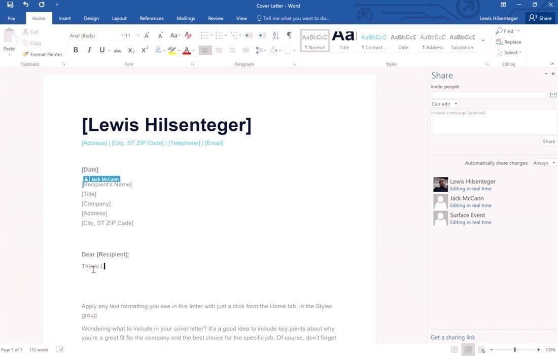 التعاون في الوقت الحقيقي Office 365