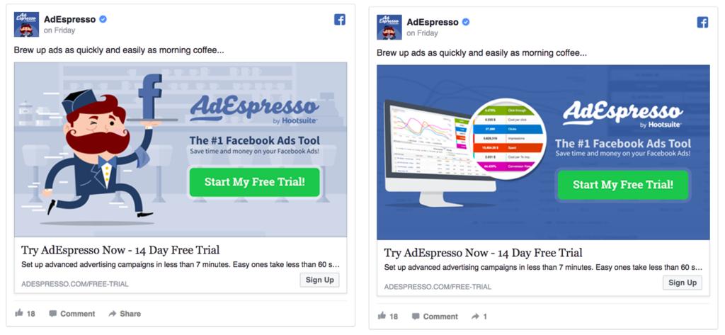 AdEspresso thử cùng một quảng cáo với những hình ảnh khác nhau