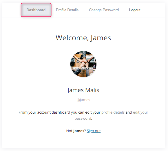 wordpress login page account details