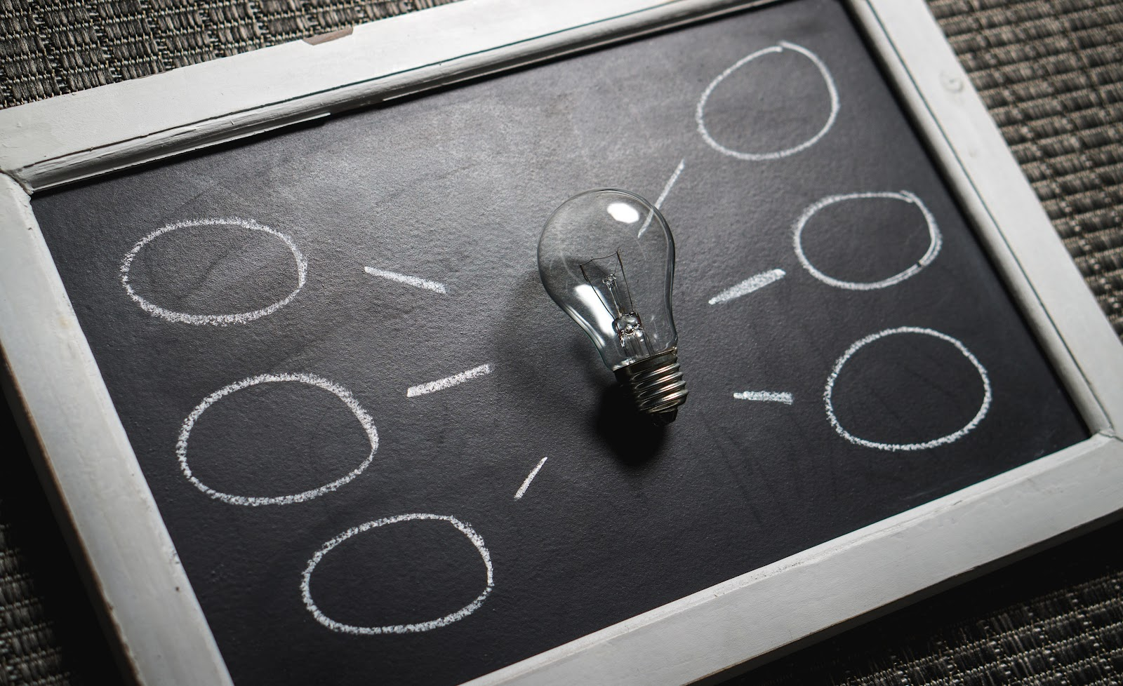 This is an image of a lightbulb on a chalkboard with several blank idea bubbles stemming from it. This is how planning your STEM vision might look like, a bright idea, with supporting goals.